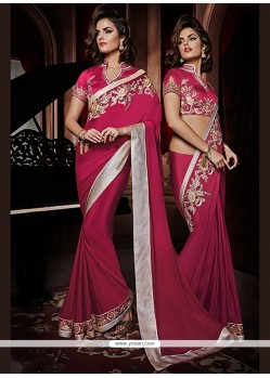 Fabulose Magenta Georgette Party Wear Saree