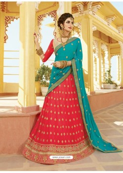 Dark Peach Silk Embroidered Designer Lehenga Choli