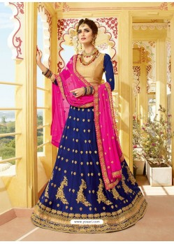 Navy Blue Silk Embroidered Designer Lehenga Choli