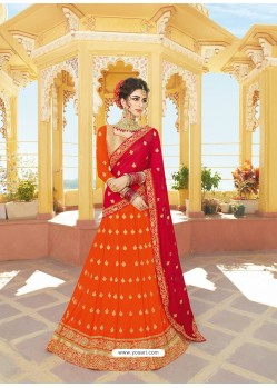 Orange Silk Embroidered Designer Lehenga Choli