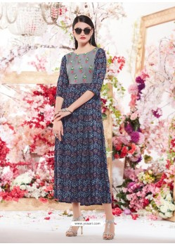 Navy Blue Cotton Readymade Printed Kurti