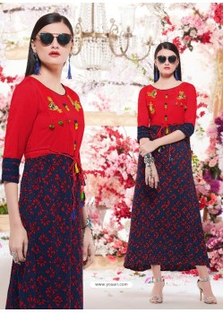 Red And Navy Cotton Readymade Printed Kurti