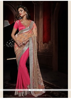 Hot Pink And Cream Net And Georgette Saree