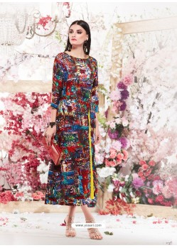 Elegant Multi Colour Cotton Readymade Printed Kurti