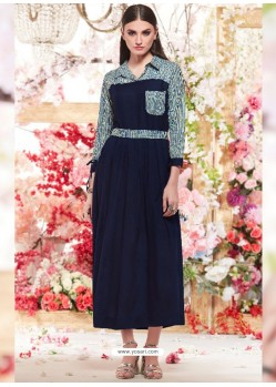 Beautiful Navy Blue Cotton Readymade Long Kurti