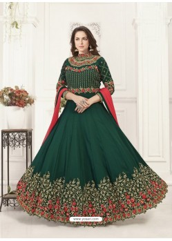 Dark Green Georgette Heavy Embroidered Designer Anarkali Suit