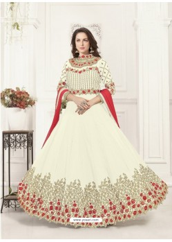 Off White Georgette Heavy Embroidered Designer Anarkali Suit