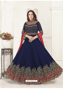 Navy Blue Georgette Heavy Embroidered Designer Anarkali Suit