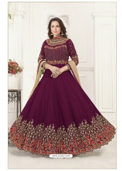 Deep Wine Georgette Heavy Embroidered Designer Anarkali Suit