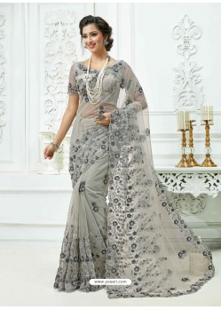 Light Grey Soft Net Heavy Embroidered Bridal Saree