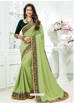 Green Crepe Silk Heavy Embroidered Bridal Saree