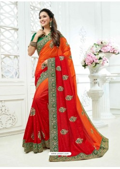 Orange And Red Crepe Silk Heavy Embroidered Bridal Saree