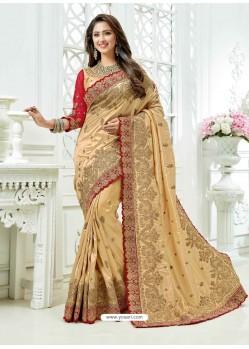 Light Beige Cadbury Silk Heavy Embroidered Bridal Saree