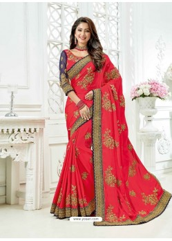 Crimson Cadbury Silk Heavy Embroidered Bridal Saree