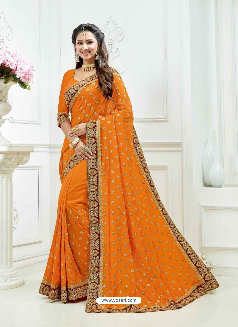 Orange Crepe Chiffon Heavy Embroidered Bridal Saree