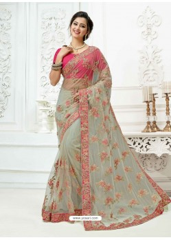 Modern Light Grey Soft Net Heavy Embroidered Bridal Saree