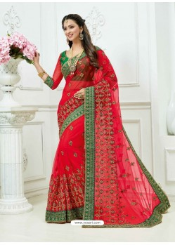 Dark Peach Soft Net Heavy Embroidered Bridal Saree