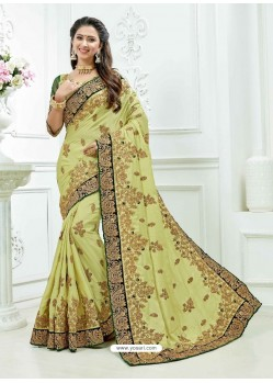 Khaki Crepe Silk Heavy Embroidered Bridal Saree