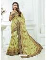 Khaki Crepe Silk Heavy Embroidered Bridal Saree