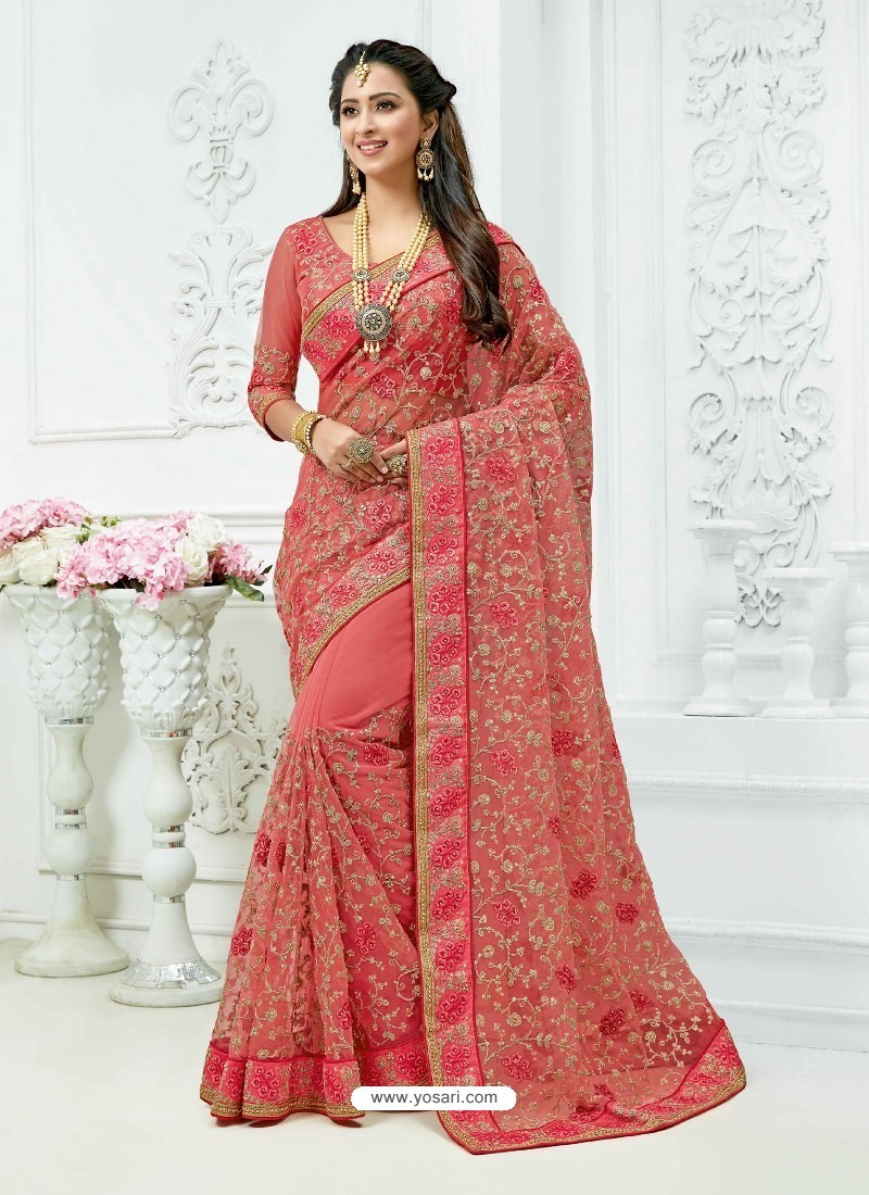 Peach Soft Net Heavy Embroidered Bridal Saree