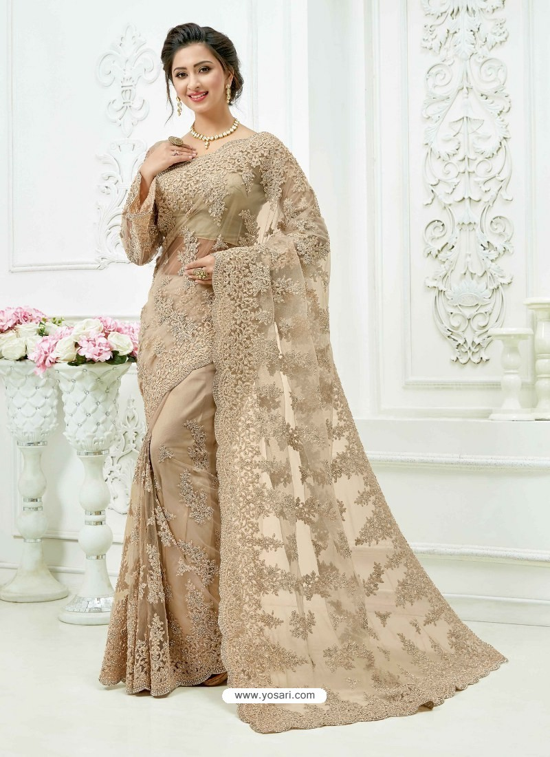Taupe Soft Net Heavy Embroidered Bridal Saree