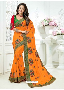 Orange Cadbury Silk Heavy Embroidered Bridal Saree