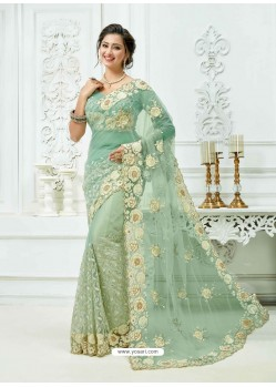 Sky Blue Soft Net Heavy Embroidered Bridal Saree