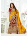 Yellow And Red Silk And Velvet Heavy Embroidered Bridal Saree