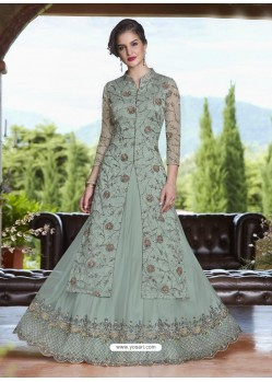 Aqua Grey Net Heavy Embroidered Lehenga Suit