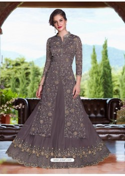 Dull Grey Net Heavy Embroidered Lehenga Suit