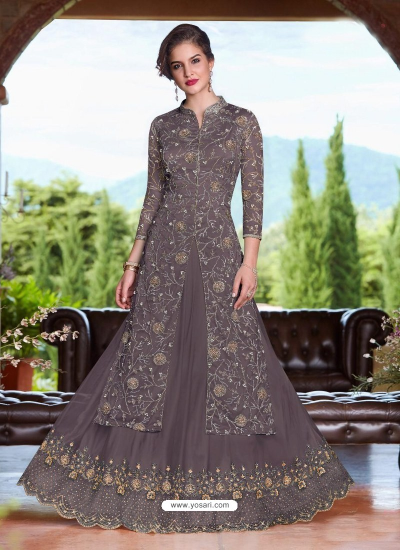 507441df48 Buy Dull Grey Net Heavy Embroidered Lehenga Suit | Designer Lehenga ...