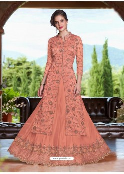 Light Orange Net Heavy Embroidered Lehenga Suit