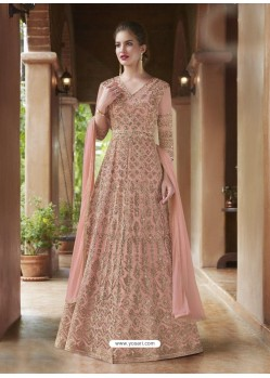 Pink Net Heavy Embroidered Gown Style Suits