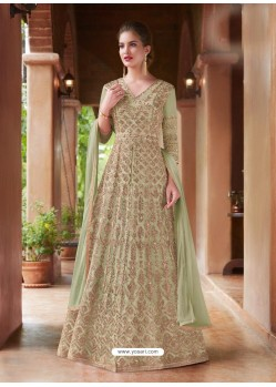 Green Net Heavy Embroidered Gown Style Suits