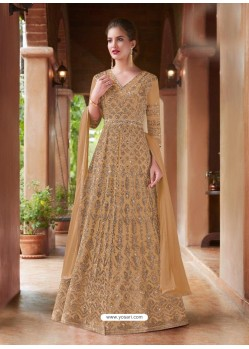 Beige Net Heavy Embroidered Gown Style Suits