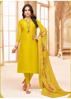 Yellow Upada Silk Digital Printed Churidar Suit