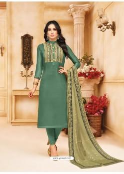 Grayish Green Upada Silk Digital Printed Churidar Suit