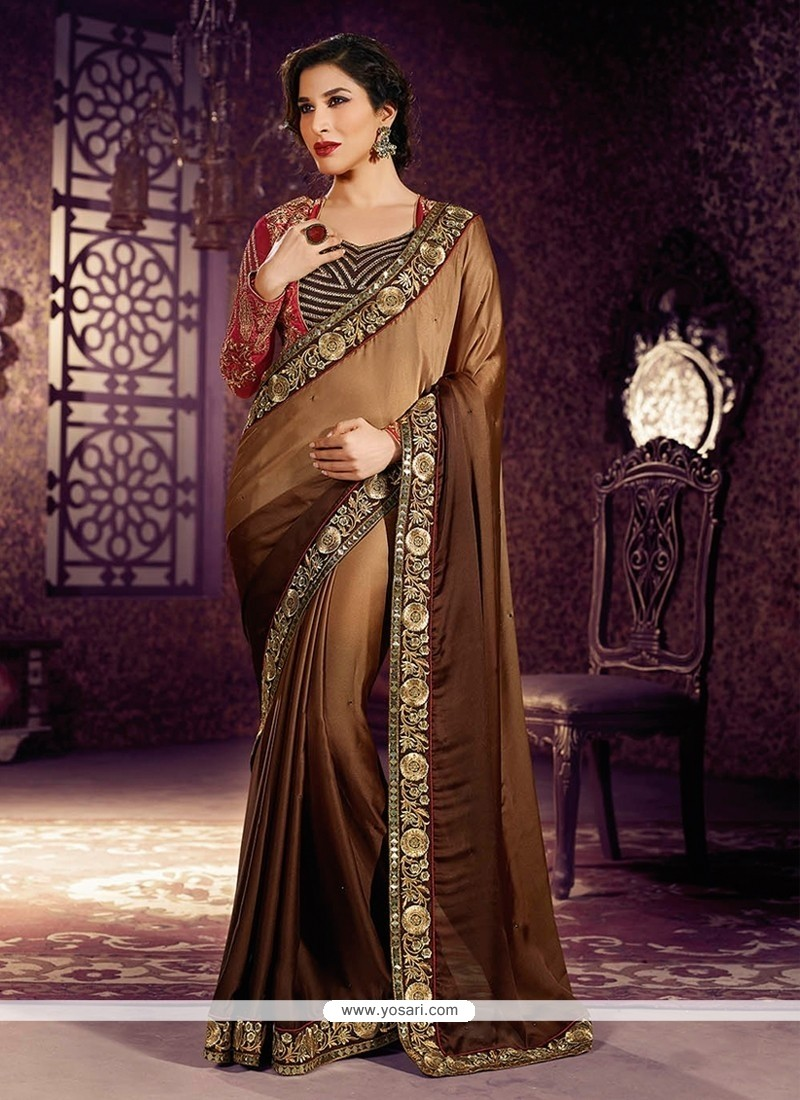 Fabulose Brown Satin Georgette Designer Saree