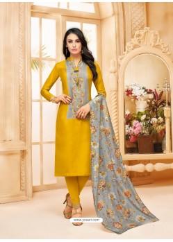 Mustard Upada Silk Digital Printed Churidar Suit