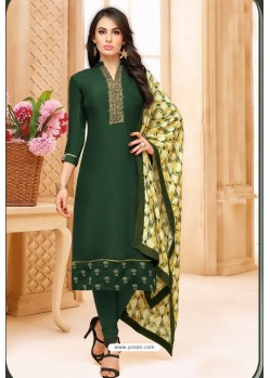 Dark Green Upada Silk Digital Printed Churidar Suit