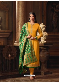 Yellow Satin Georgette Embroidered Churidar Suit