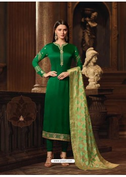 Dark Green Satin Georgette Embroidered Churidar Suit