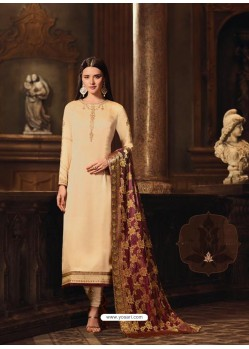 Cream Satin Georgette Embroidered Churidar Suit