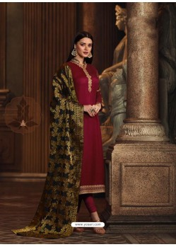 Maroon Satin Georgette Embroidered Churidar Suit