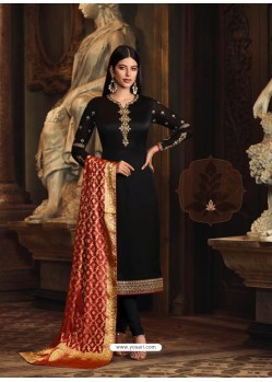 Black Satin Georgette Embroidered Churidar Suit