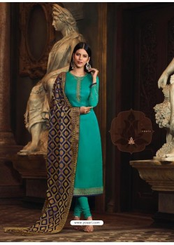 Teal Satin Georgette Embroidered Churidar Suit