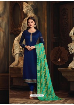 Navy Blue Satin Georgette Embroidered Churidar Suit