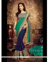 Navy Blue And Green Weight Less Saree