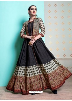 Black Heavy Machalin Printed Hand Worked Kurti