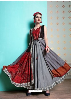 Grey And Red Heavy Machalin Printed Hand Worked Kurti